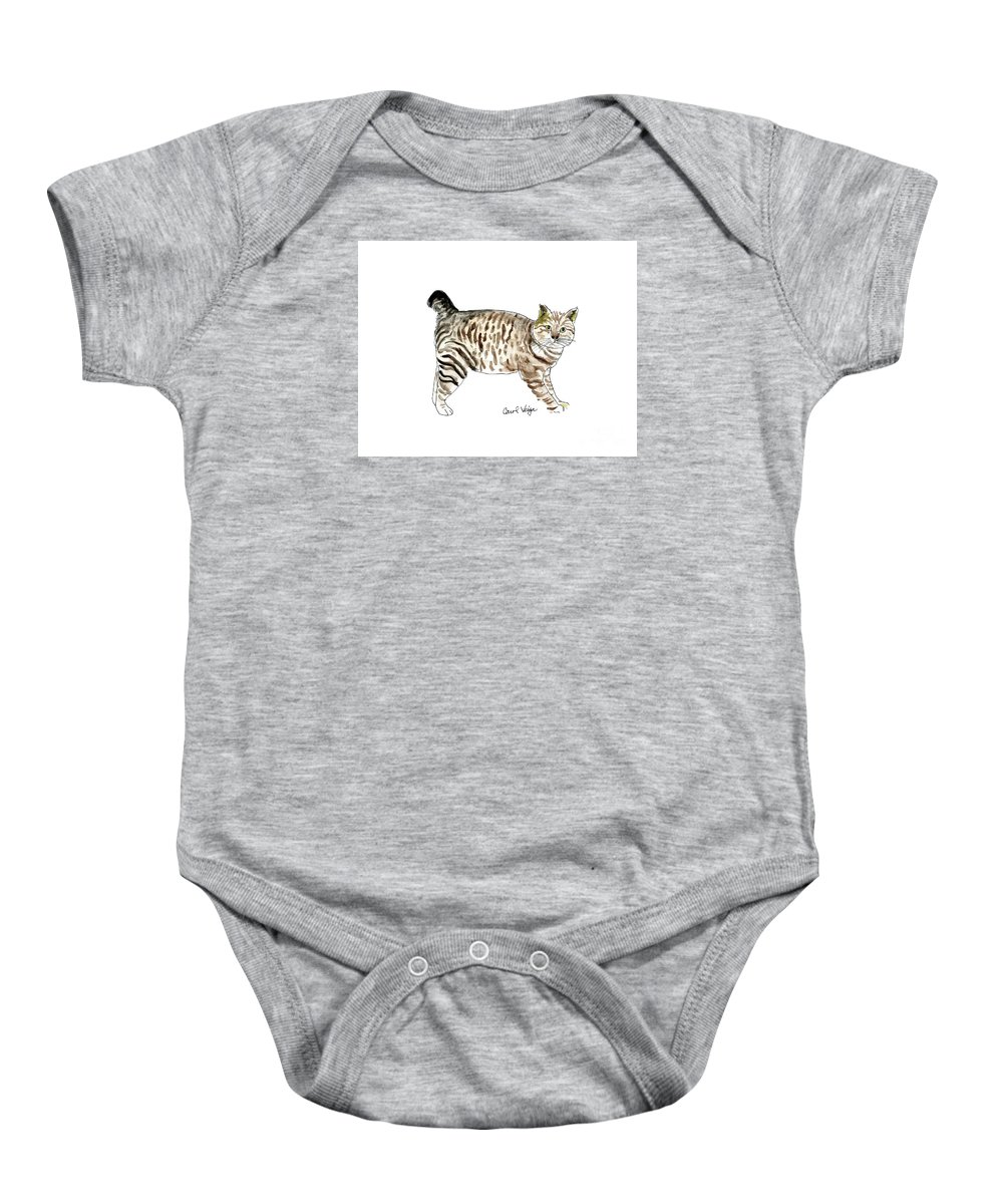 American Curl Cat Baby Onesie featuring the drawing American Curl by Carol Veiga