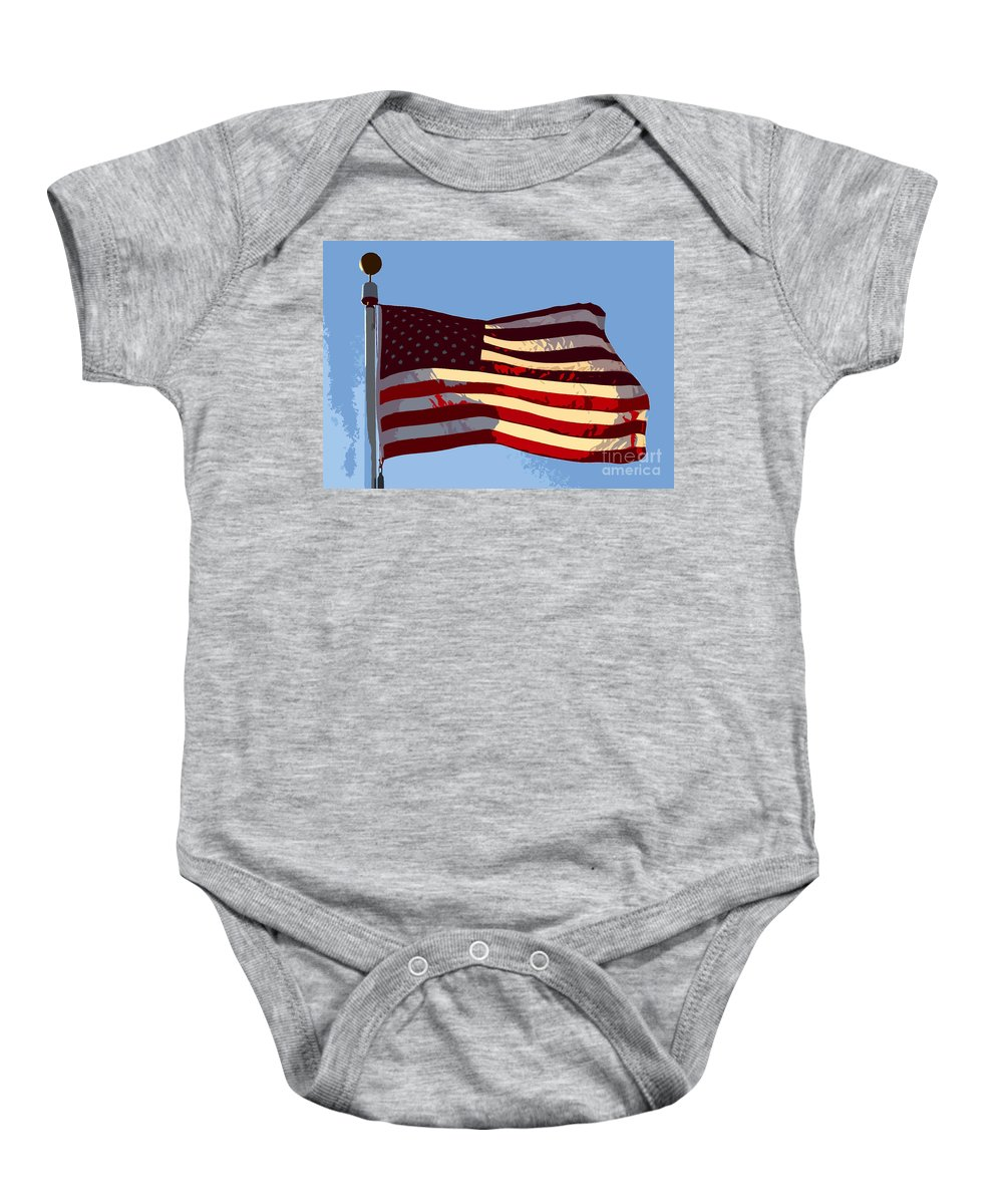 American Flag Baby Onesie featuring the painting American Flag by David Lee Thompson