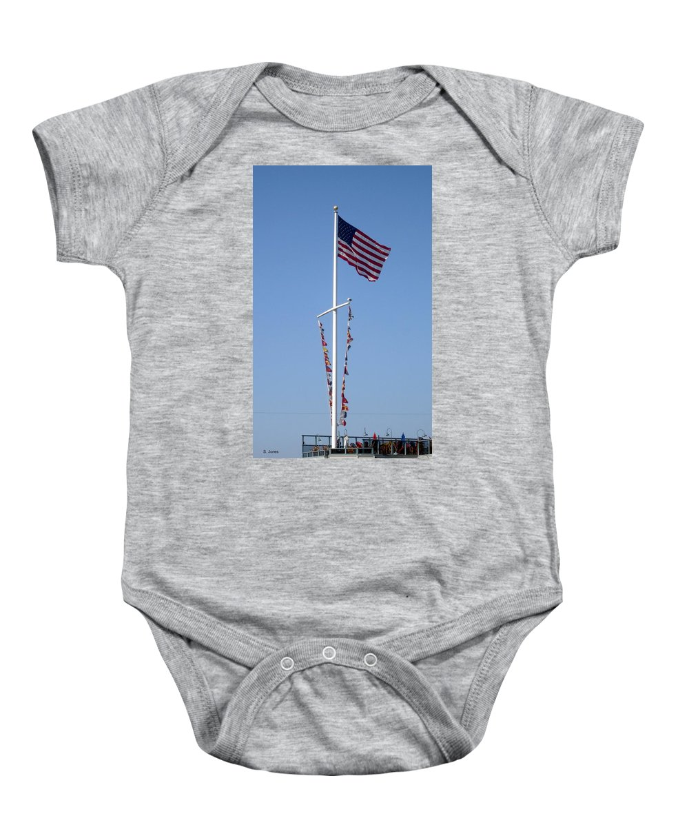 American Flag Baby Onesie featuring the photograph American Flag by Shelley Jones