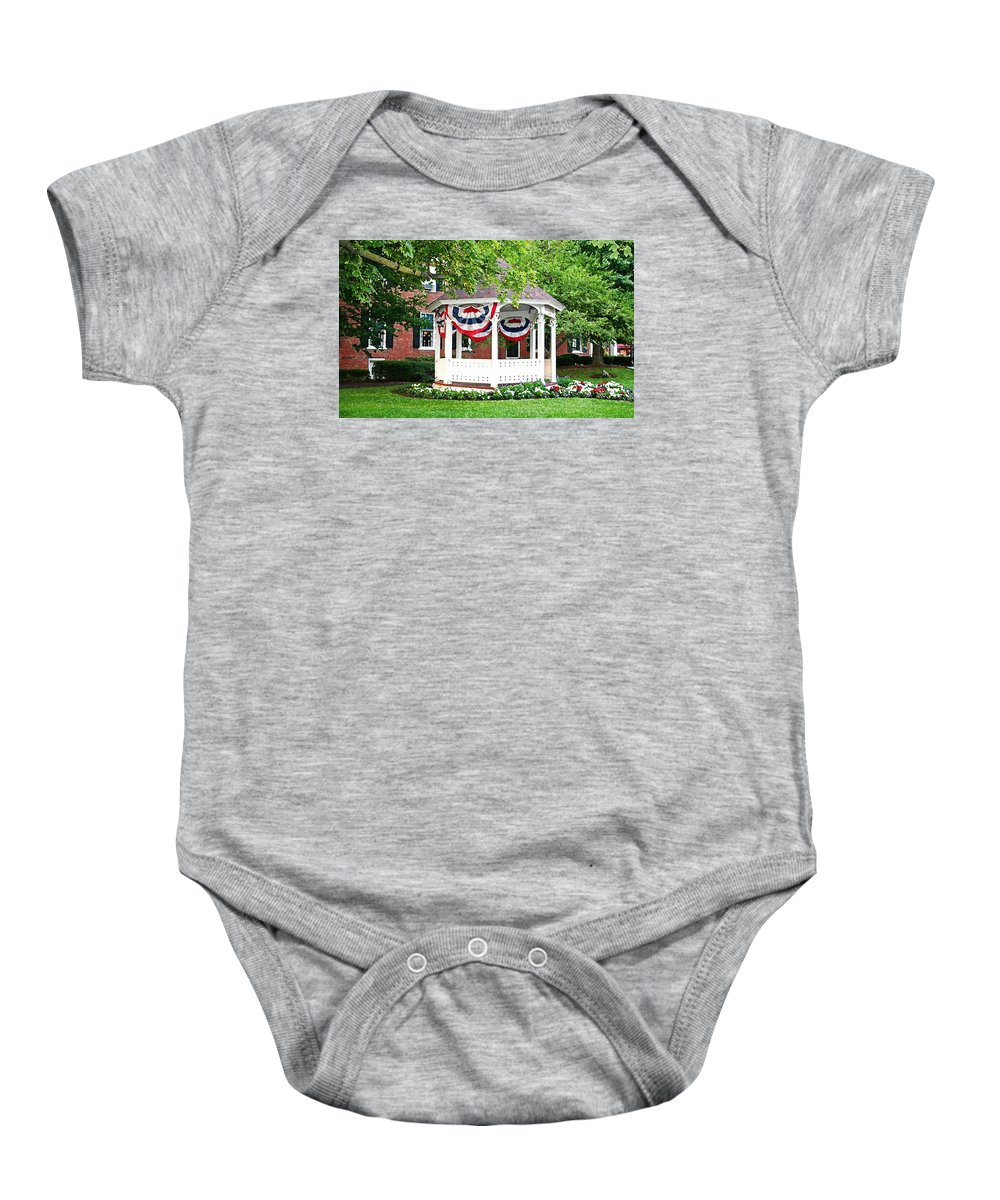 Gazebo Baby Onesie featuring the photograph American Gazebo by Margie Wildblood