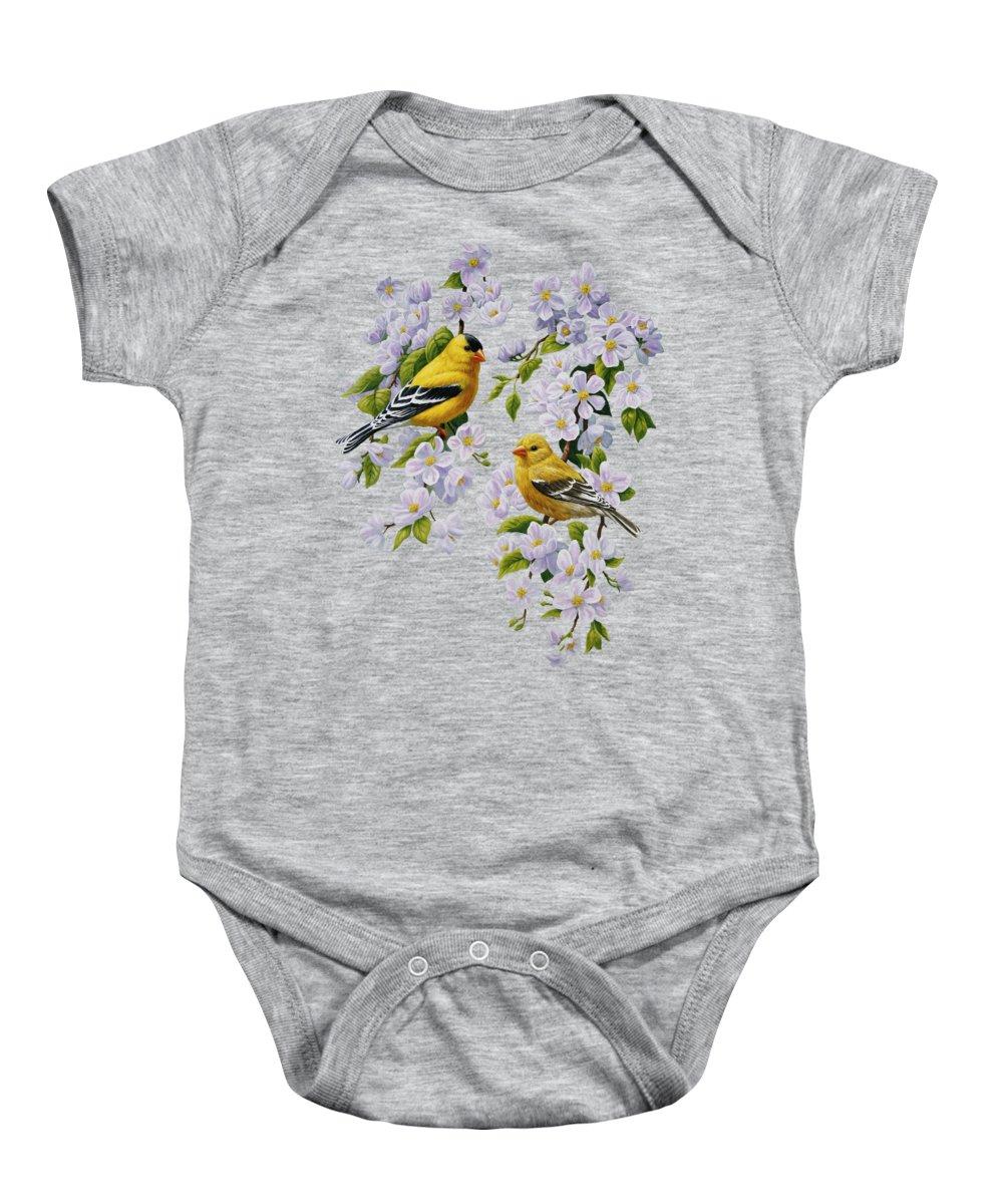 Purple And Yellow Flowers Baby Onesies