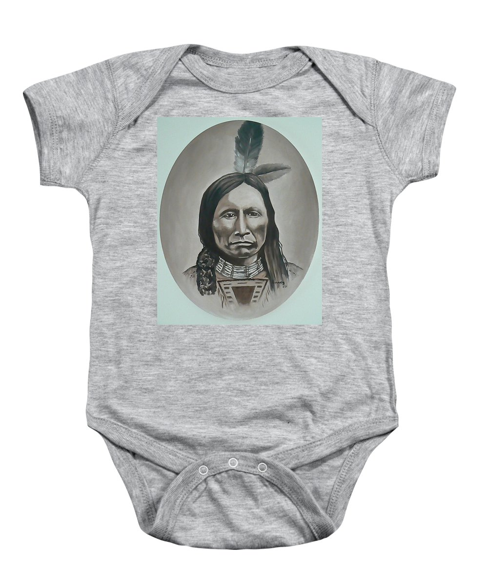 Michael Baby Onesie featuring the painting American Horse by Michael TMAD Finney