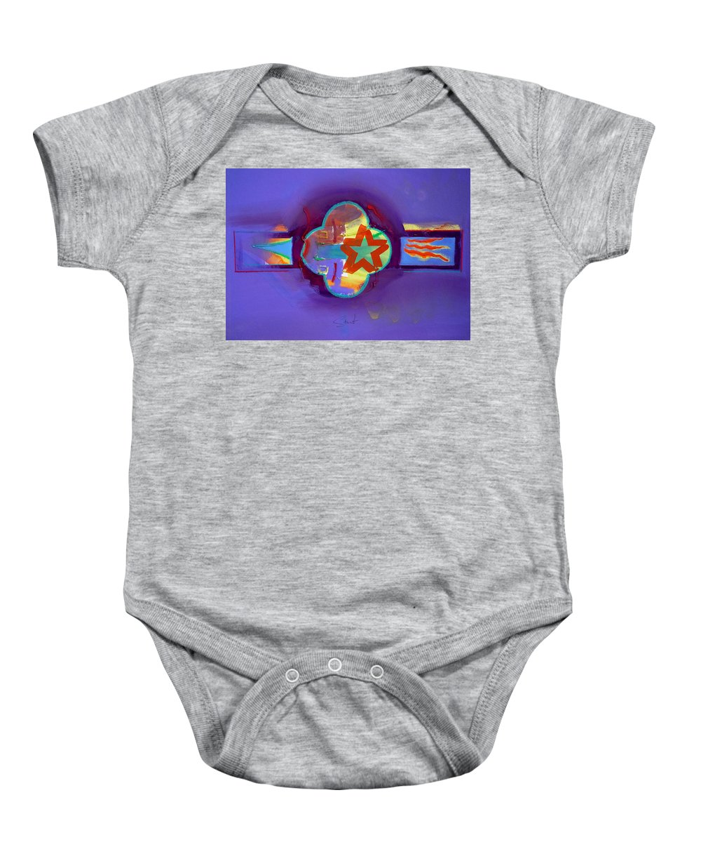Star Baby Onesie featuring the painting American Neon by Charles Stuart