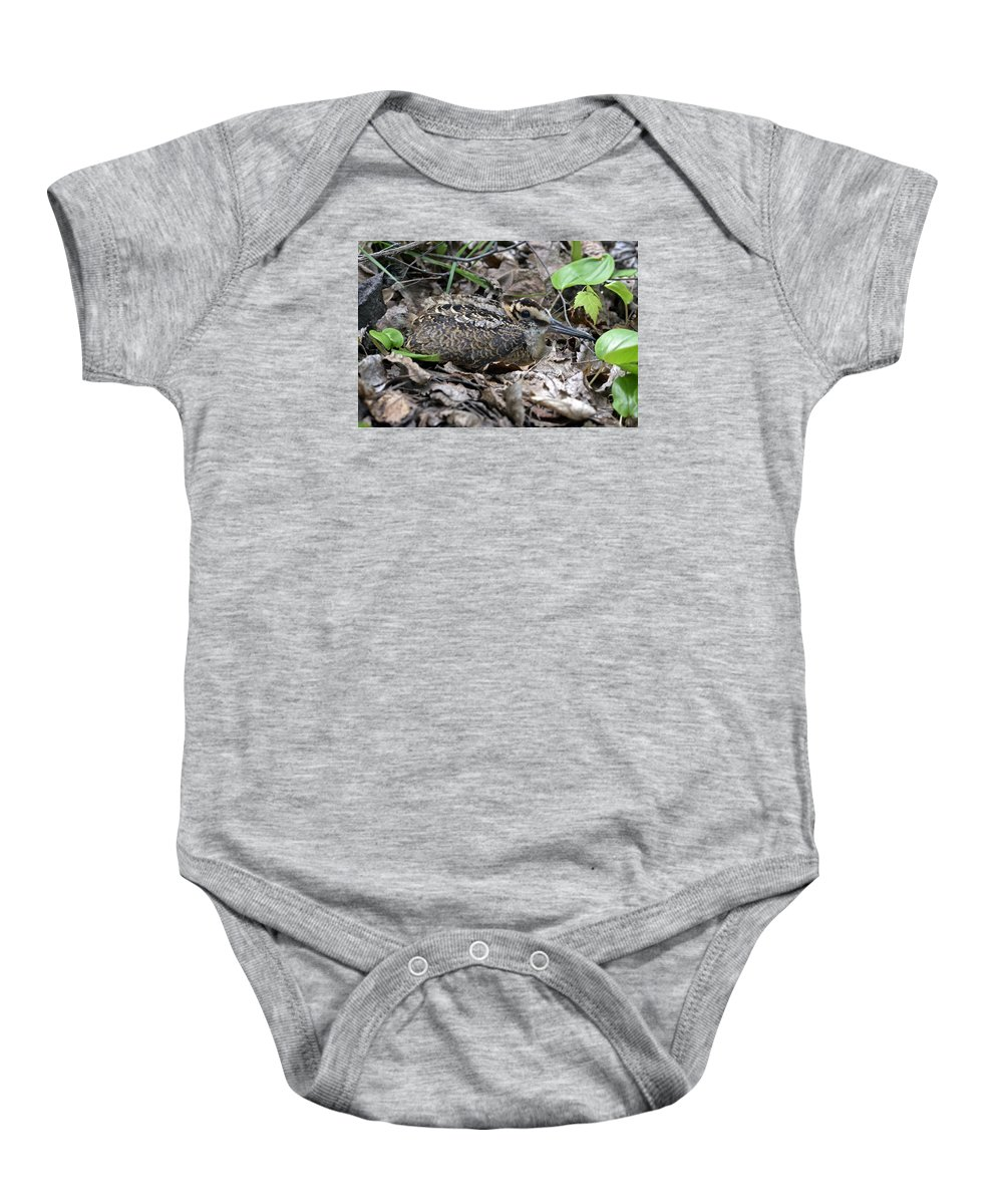 American Woodcock Baby Onesie featuring the photograph American Woodcock Chick. by Asbed Iskedjian
