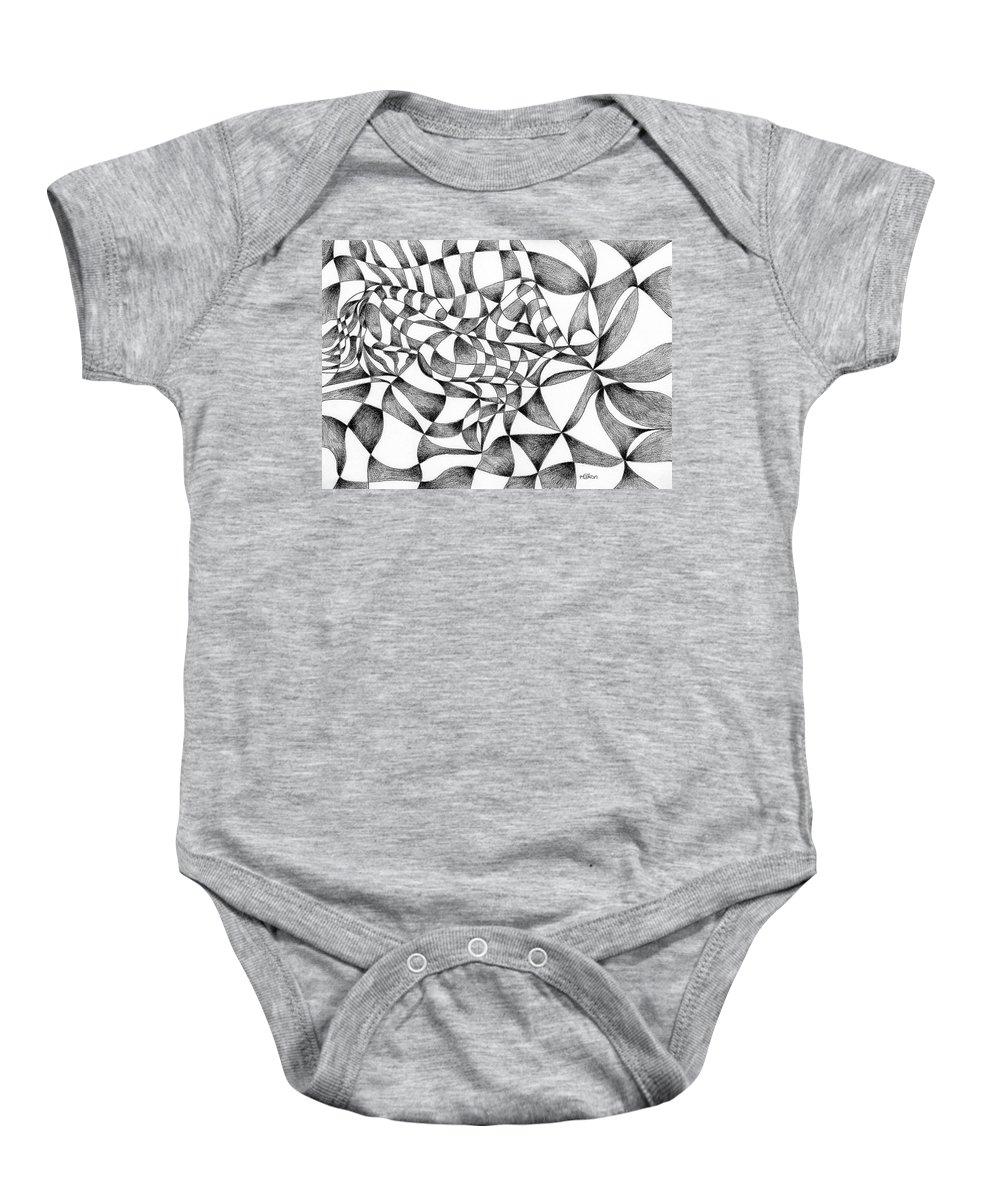 Chequered Baby Onesie featuring the digital art Amidst Silken Sheets by Hakon Soreide