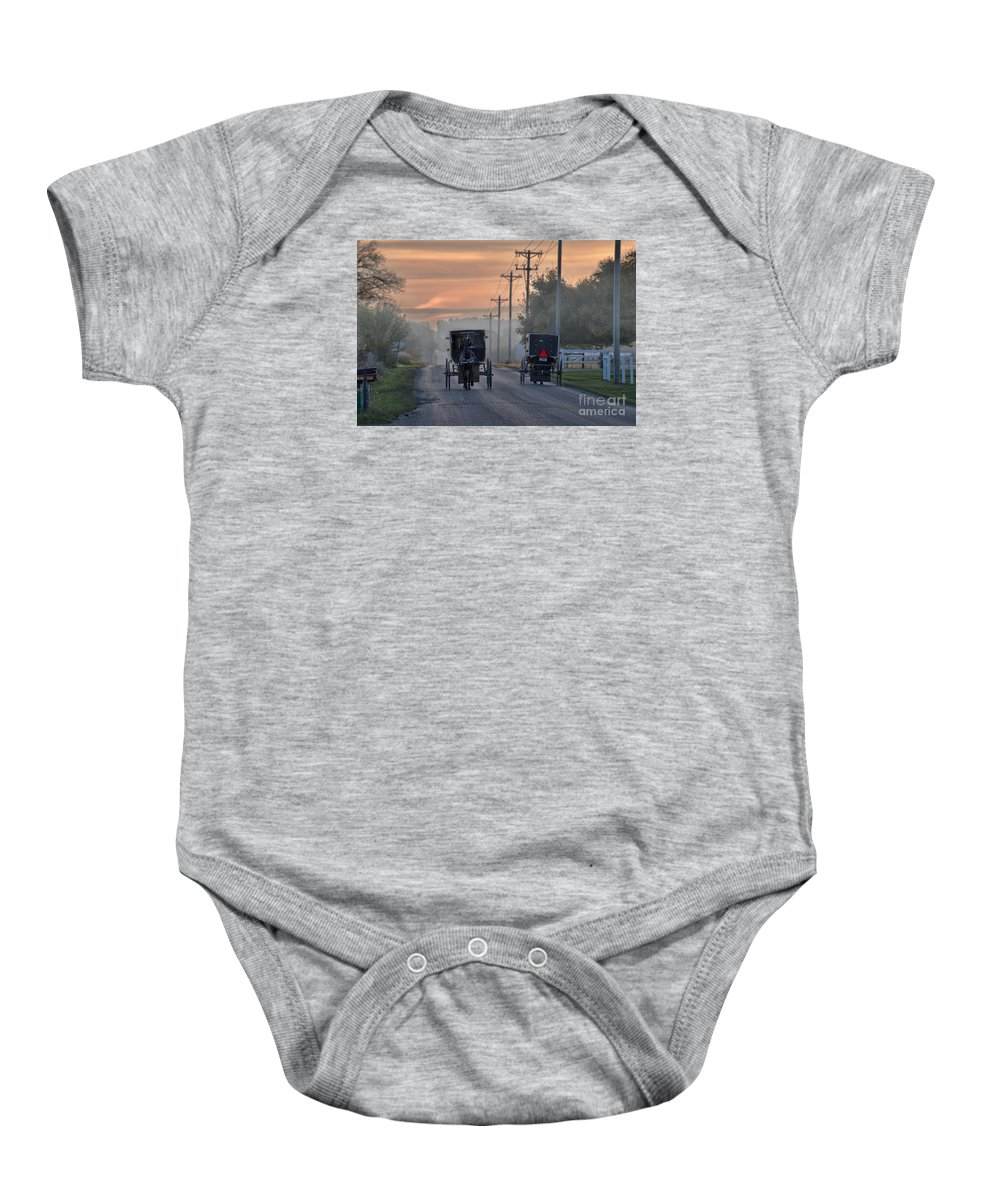 Amish Baby Onesie featuring the photograph Amish Buggy Sunday Morning by David Arment
