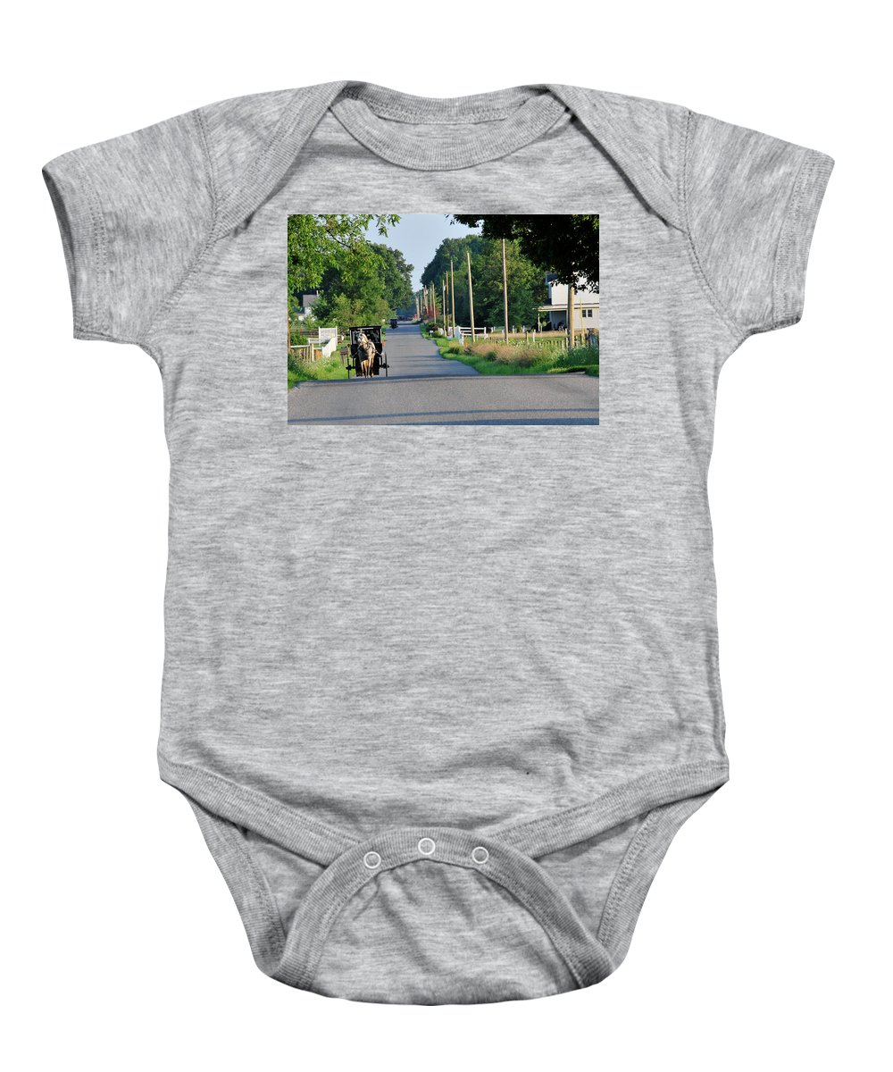 Buggy Baby Onesie featuring the photograph Amish Buggy Sunny Summer by David Arment