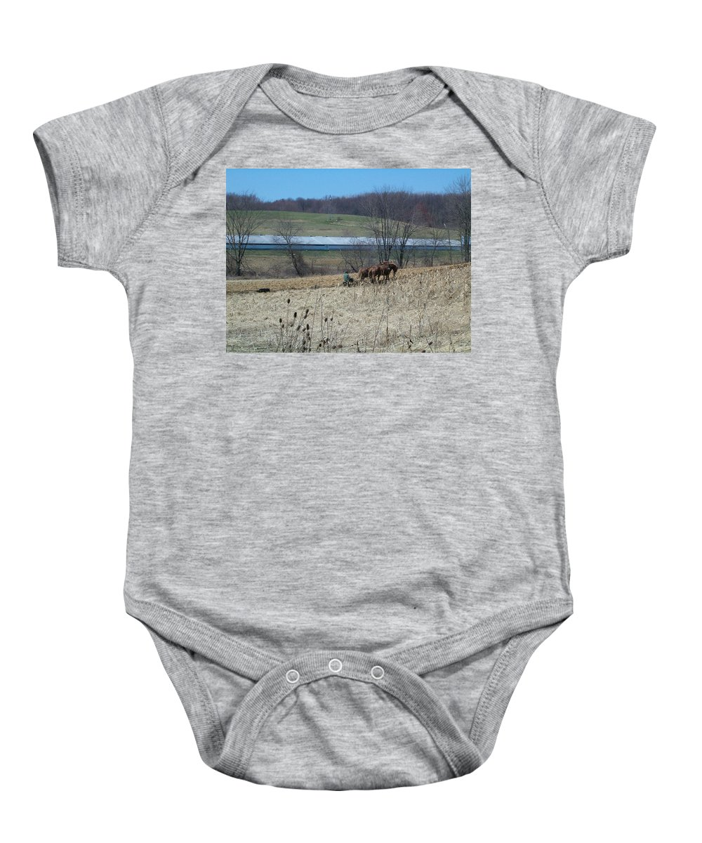 Plow Horse Baby Onesie featuring the photograph Amish Farming by Sara Raber