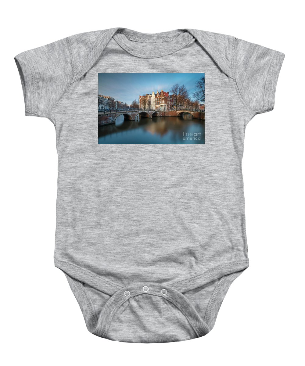 Amsterdam Baby Onesie featuring the photograph Amsterdam Canal by Menno Schaefer
