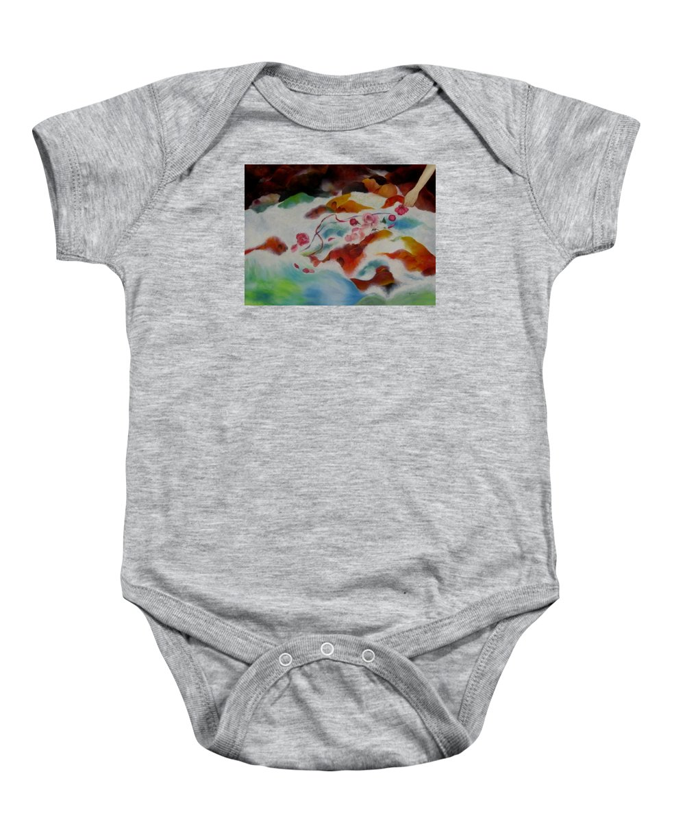 Abstract Baby Onesie featuring the painting An Offering by Peggy Guichu