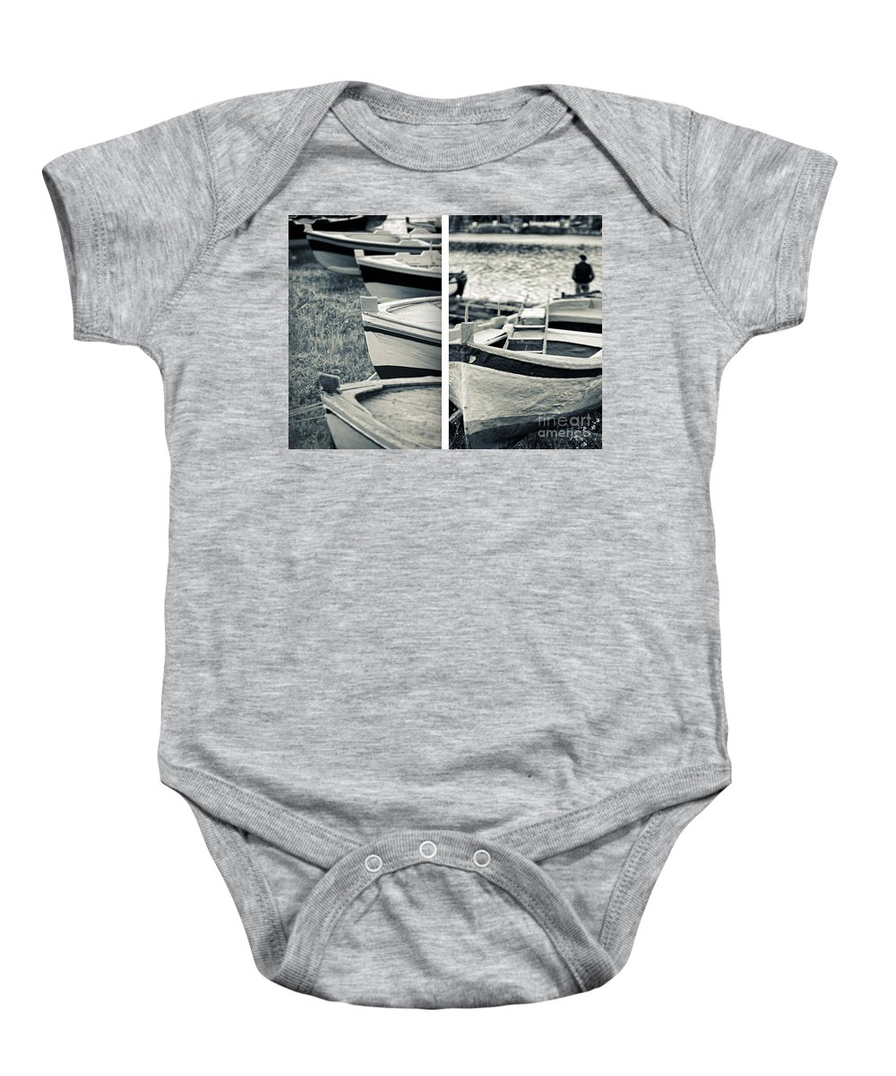 Diptych Baby Onesie featuring the photograph An Old Man's Boats by Silvia Ganora