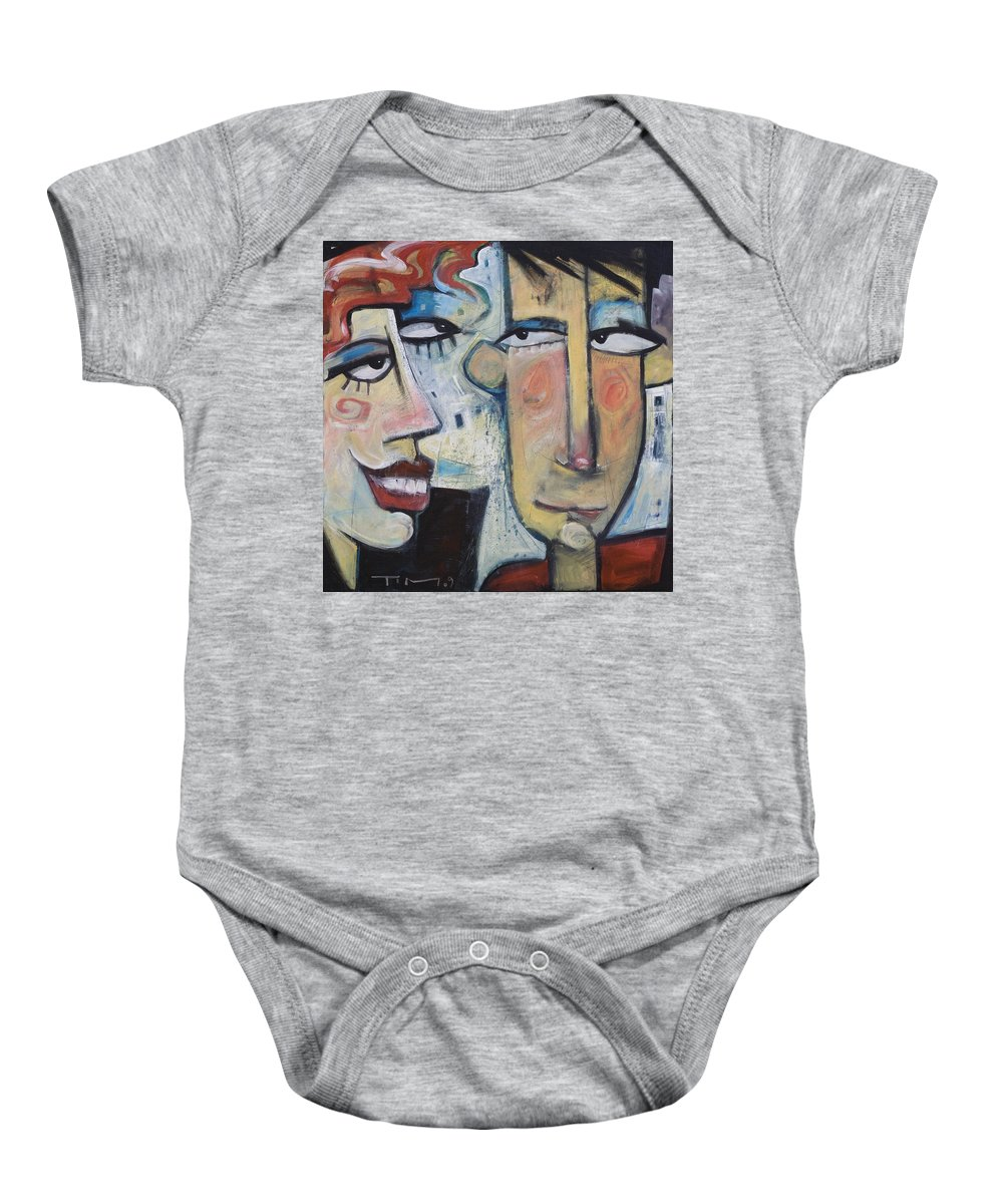 Man Baby Onesie featuring the painting An Uncomfortable Attraction by Tim Nyberg