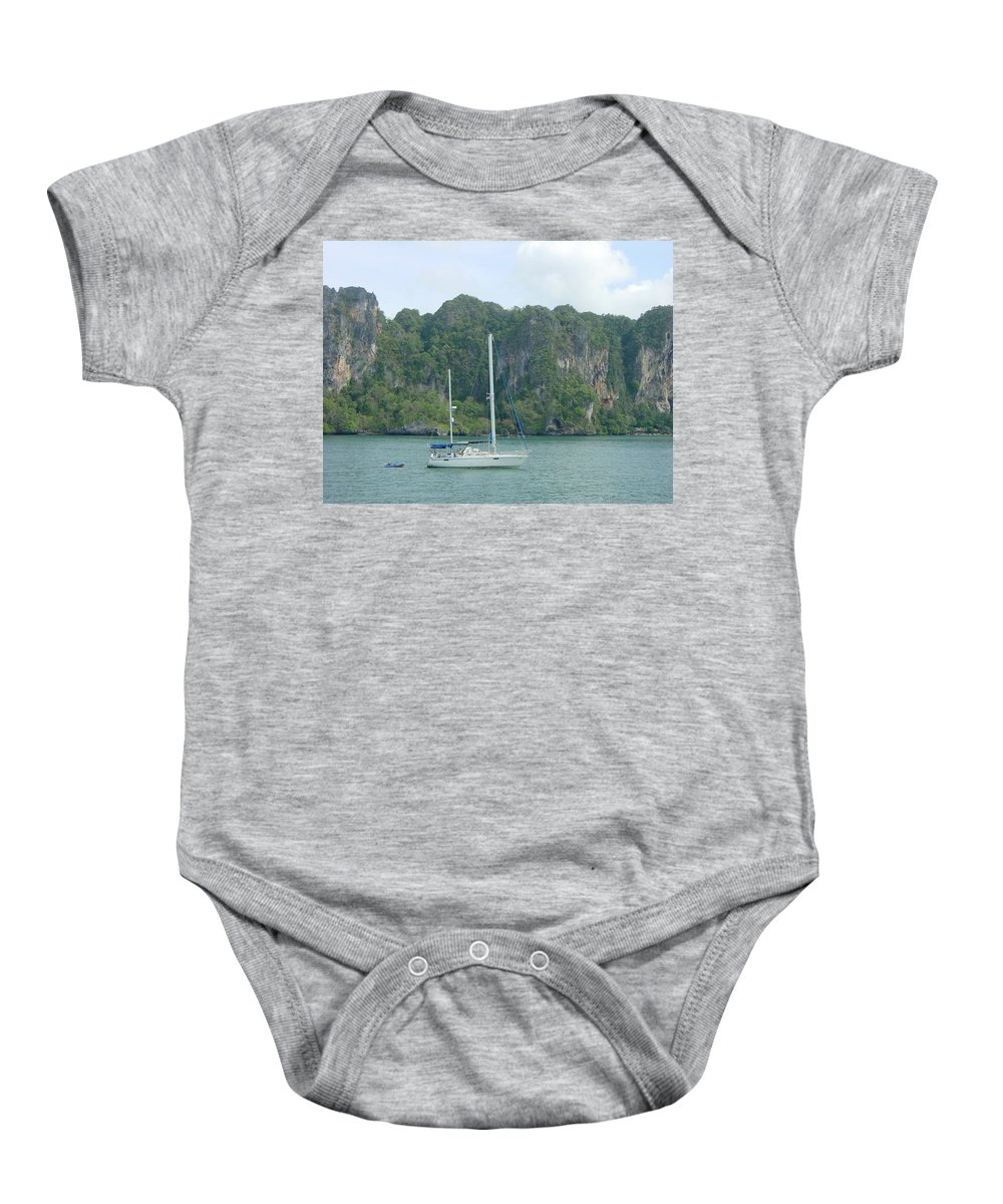 Sail Boat Baby Onesie featuring the photograph Anchored In Paradise by D Turner