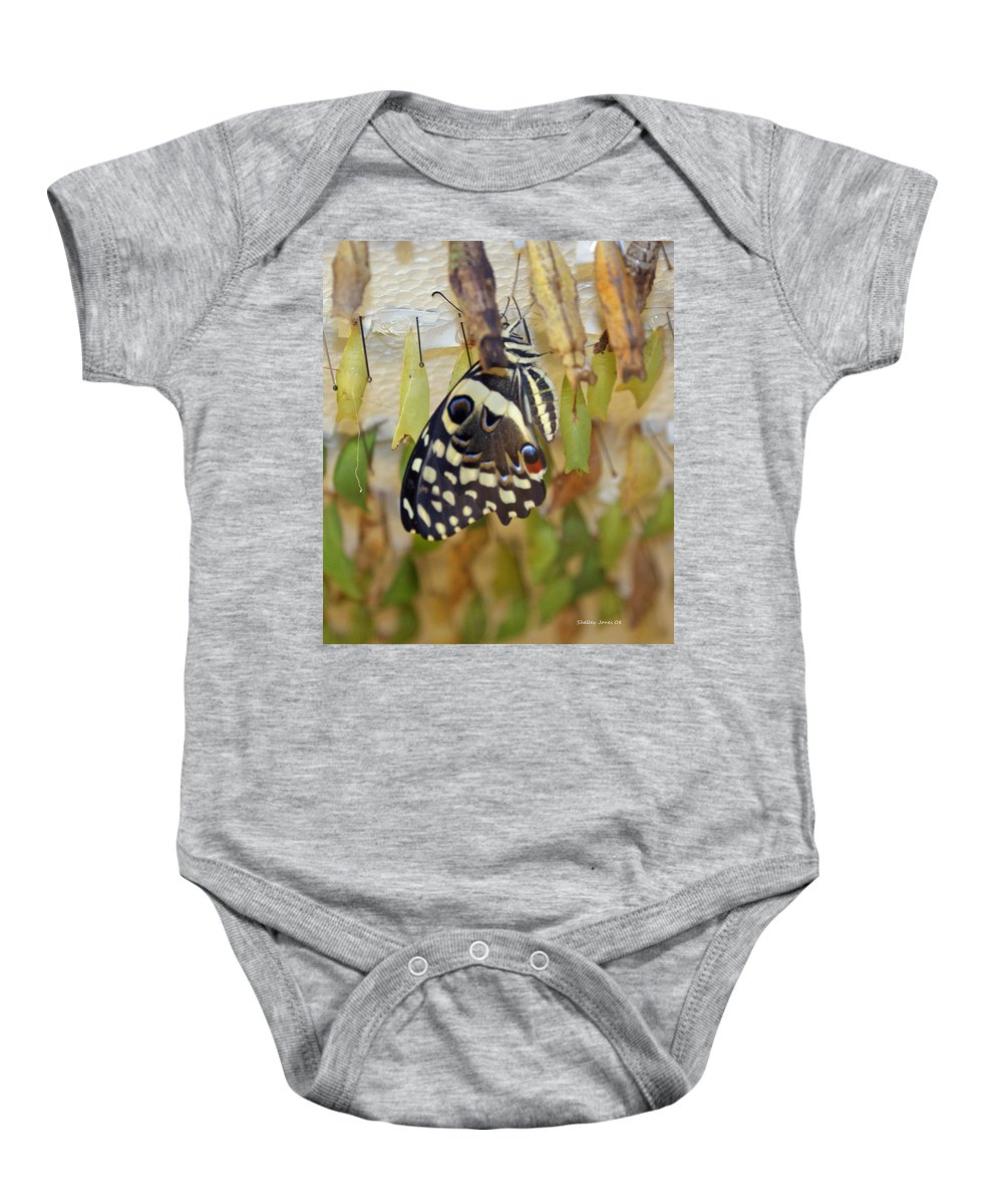 Butterfly Baby Onesie featuring the photograph And Life Begins by Shelley Jones