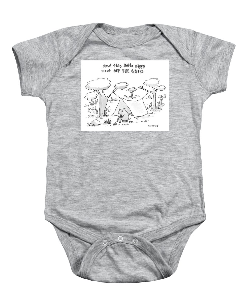 ab3b8615cf1a7 And This Little Piggy Went Off The Grid Onesie for Sale by Liza Donnelly
