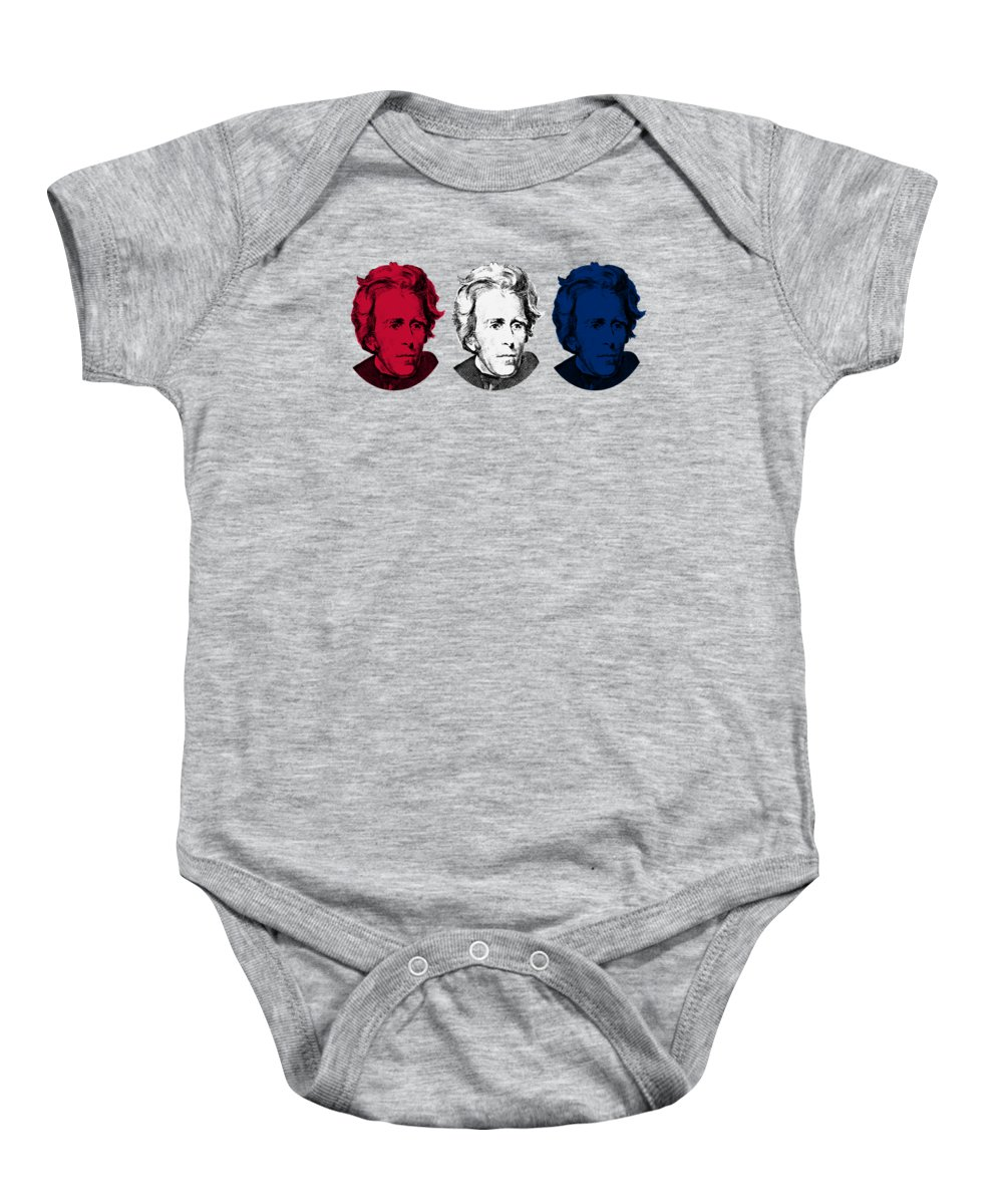 President Jackson Baby Onesie featuring the digital art Andrew Jackson Red White And Blue by War Is Hell Store