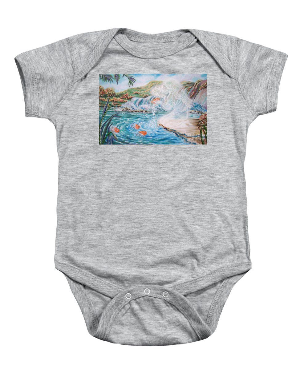 Smiling Angel Baby Onesie featuring the painting Angel And The Fishes Flying-lamb-productions by Sigrid Tune