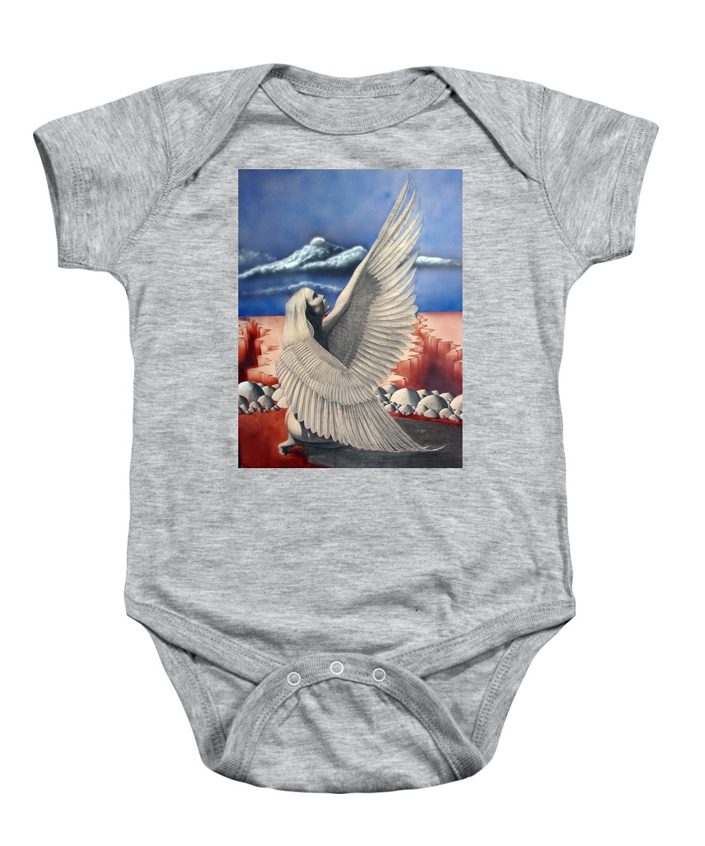 Shaun Baby Onesie featuring the painting Angel by Shaun McNicholas