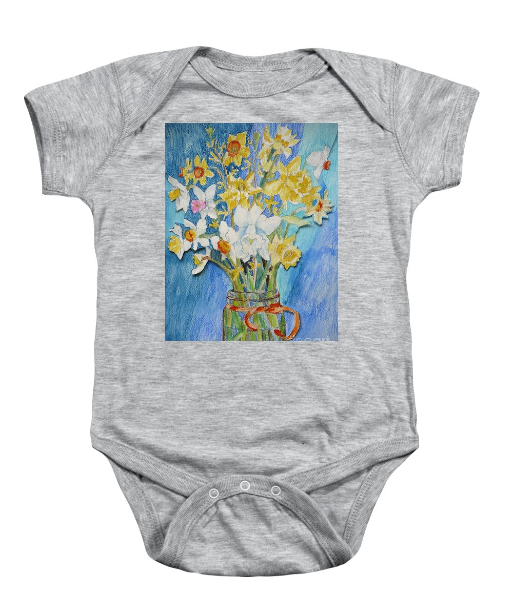 Flowers Baby Onesie featuring the painting Angels Flowers by Jan Bennicoff