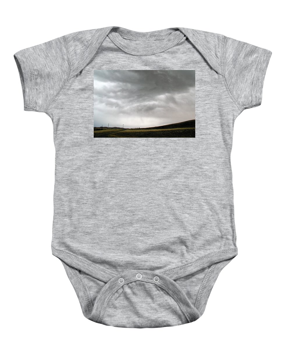 Big Sky Baby Onesie featuring the photograph Angry Sky - Montana by D'Arcy Evans