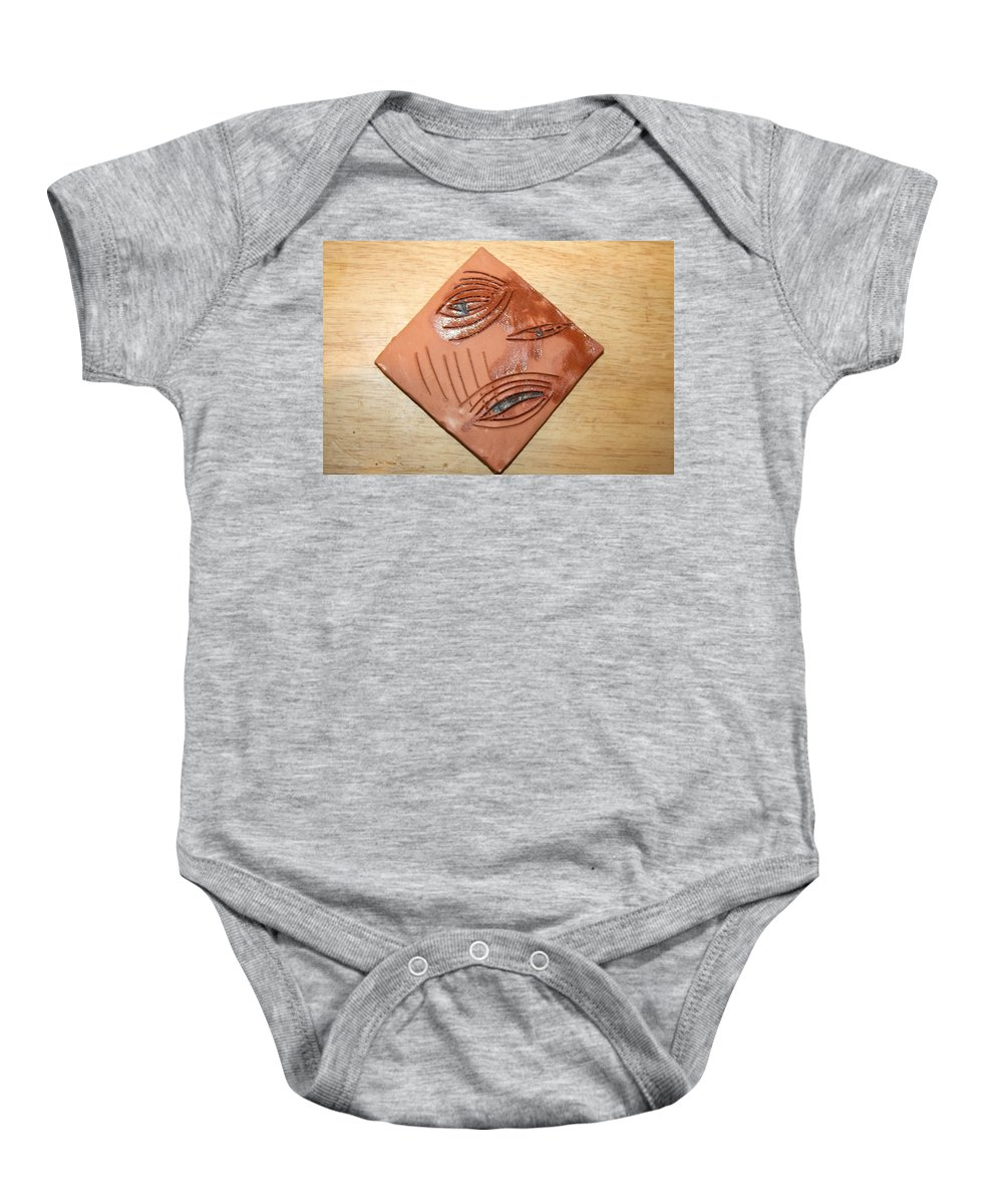 Jesus Baby Onesie featuring the ceramic art Anguish - Tile by Gloria Ssali