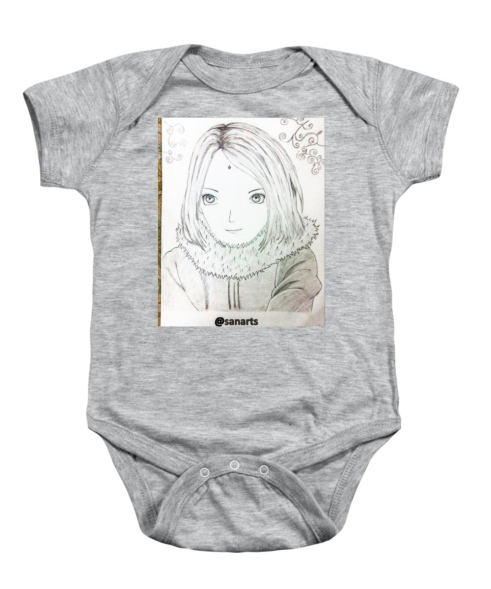 Sketch Baby Onesie featuring the drawing Anime Drawing by Sanchit Sharda
