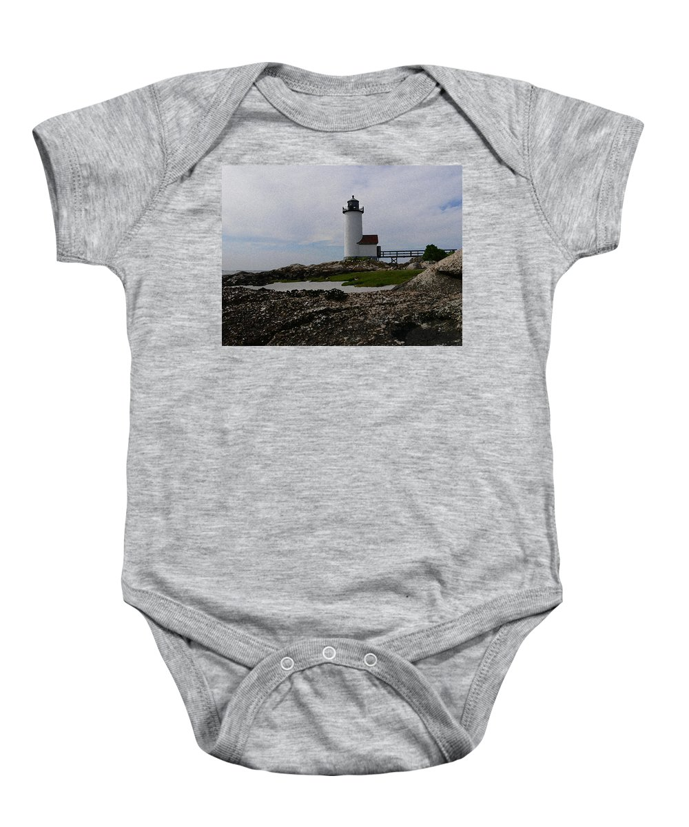 New England Lighthouse Baby Onesie featuring the photograph Annisquam Lighthouse by Nancie DeMellia