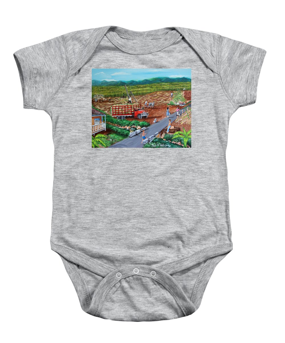 Sugarcane Field Baby Onesie featuring the painting Anoranzas by Luis F Rodriguez