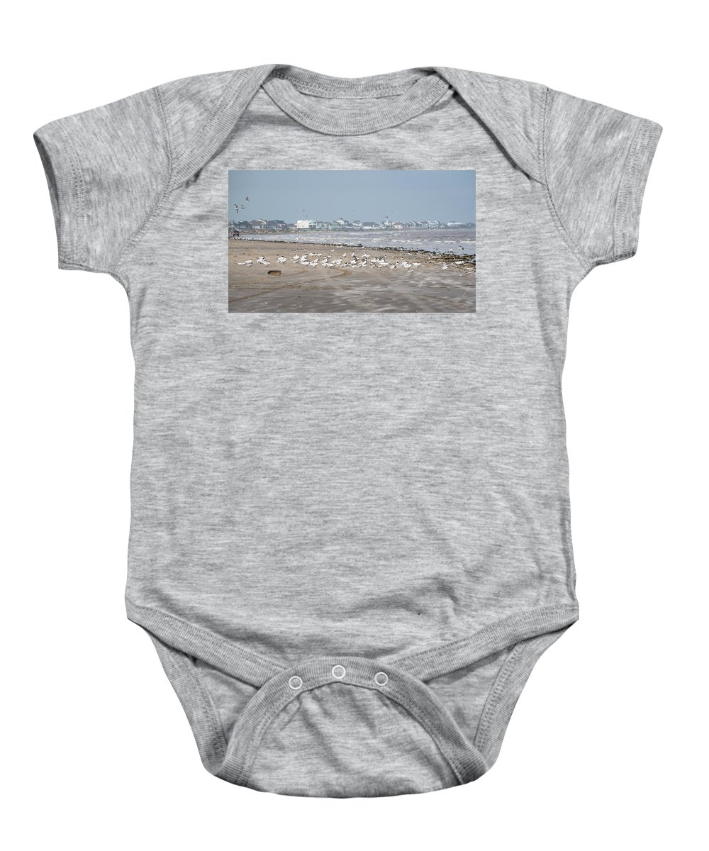 Bolivar Flats Baby Onesie featuring the photograph Another Day At The Beach by Barb Thompson