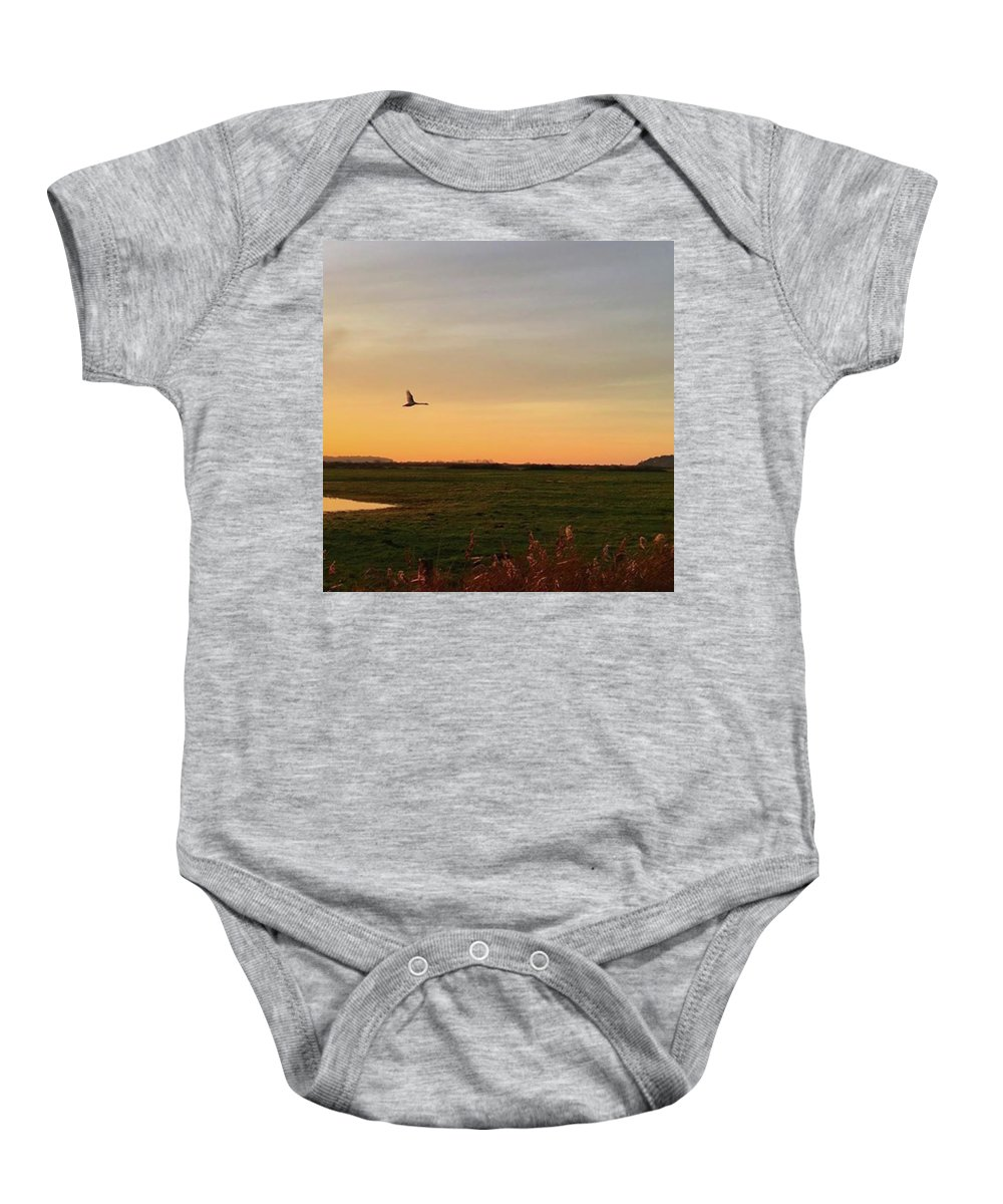 Natureonly Baby Onesie featuring the photograph Another Iphone Shot Of The Swan Flying by John Edwards