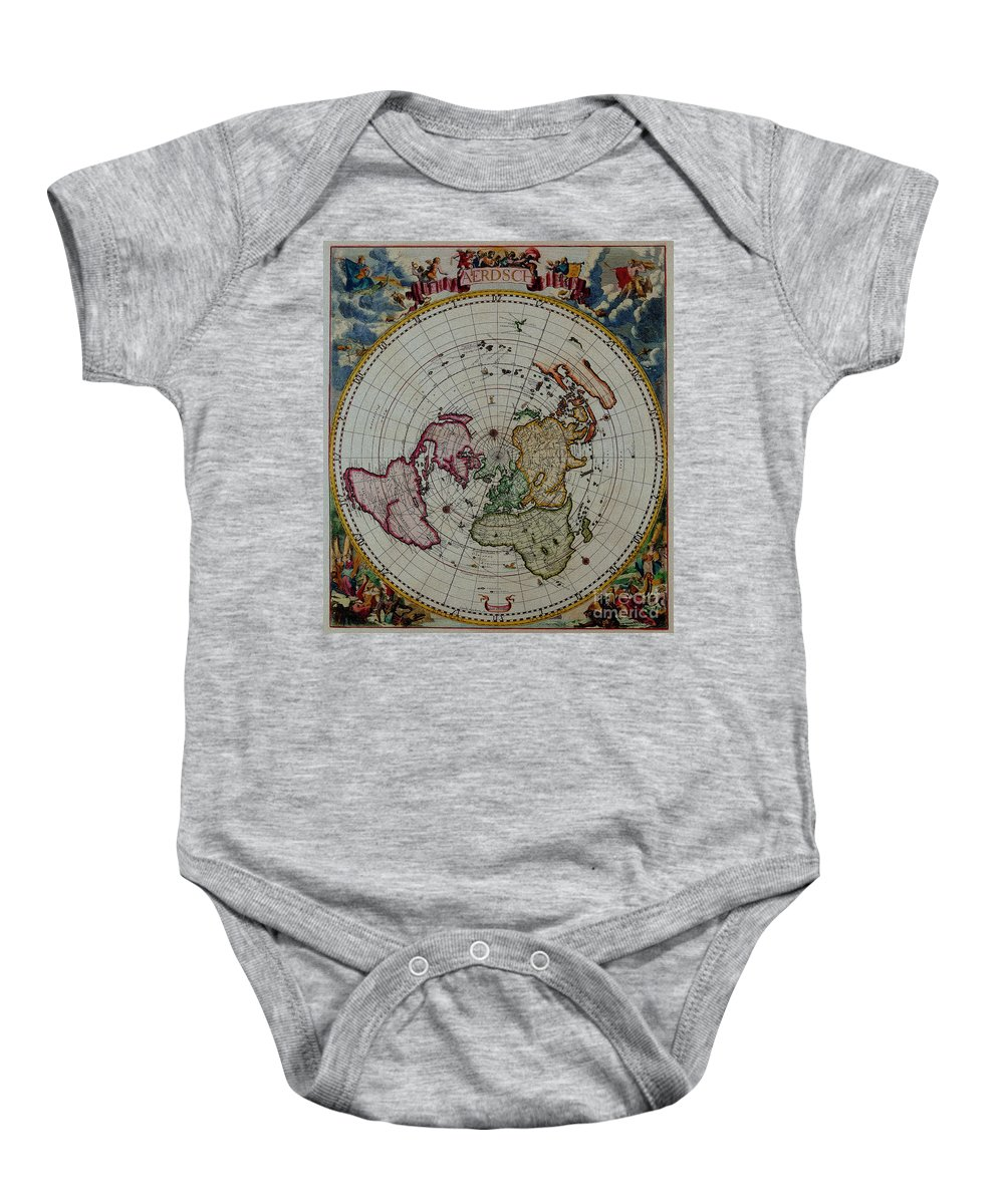 Antique Map Baby Onesie featuring the digital art Antique Map Vintage Very Stylish Piece by R Muirhead Art