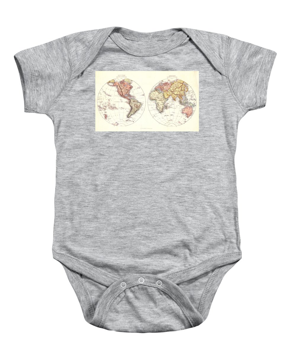 Antique Map Of The World Baby Onesie featuring the drawing Antique Maps - Old Cartographic Maps - Antique Map Of The Eastern And Western Hemisphere, 1850 by Studio Grafiikka