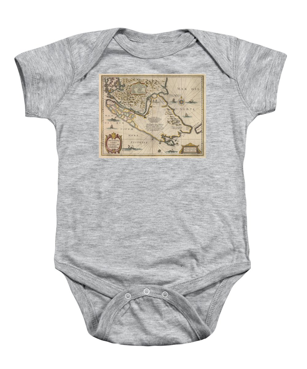 Antique Map Of The Strait Of Magellan Baby Onesie featuring the drawing Antique Maps - Old Cartographic Maps - Antique Map Of The Strait Of Magellan, South America, 1635 by Studio Grafiikka