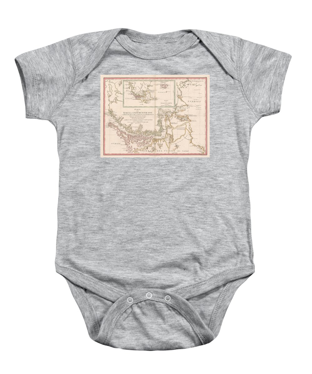 Antique Map Of The Strait Of Magellan Baby Onesie featuring the drawing Antique Maps - Old Cartographic Maps - Antique Map Of The Strait Of Magellan, South America, 1787 by Studio Grafiikka