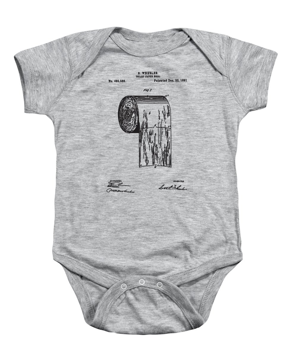 Bathroom Art Baby Onesie featuring the painting Antique Toilet Paper Roll Blueprint Patent Illustration by Tina Lavoie
