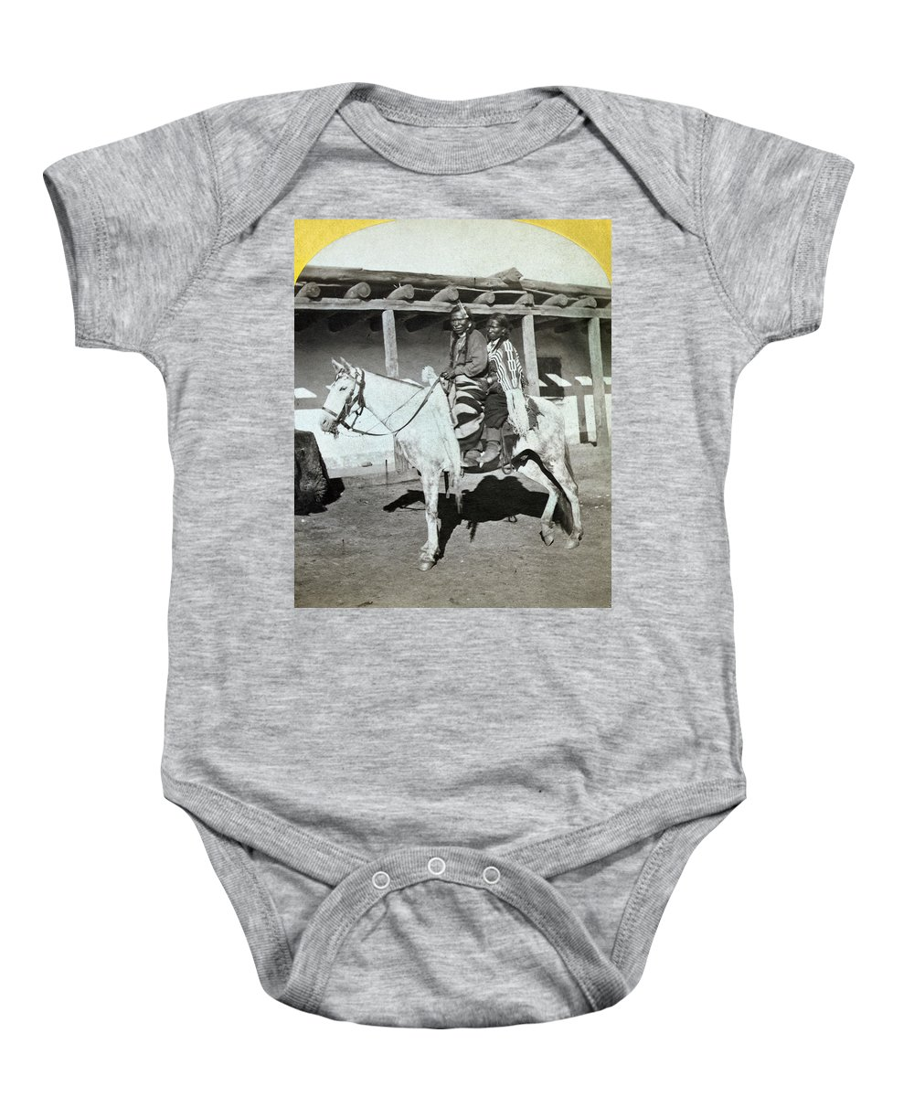 1873 Baby Onesie featuring the photograph Apache Couple, C1873 by Granger