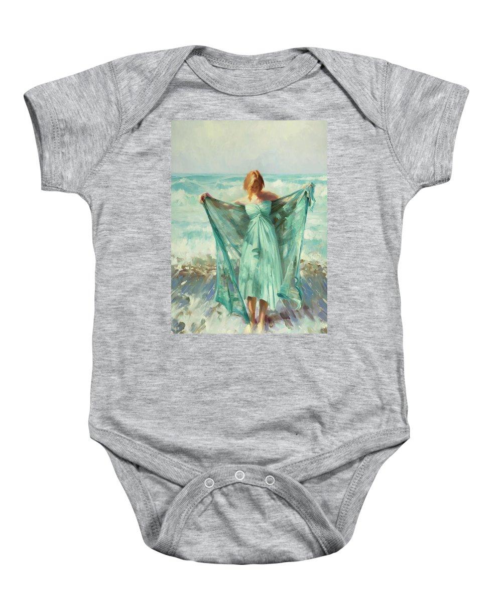 Ocean Baby Onesie featuring the painting Aphrodite by Steve Henderson