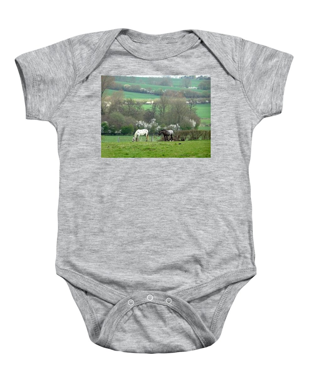 Appaloosa Baby Onesie featuring the photograph Appaloosa In May by Susan Baker