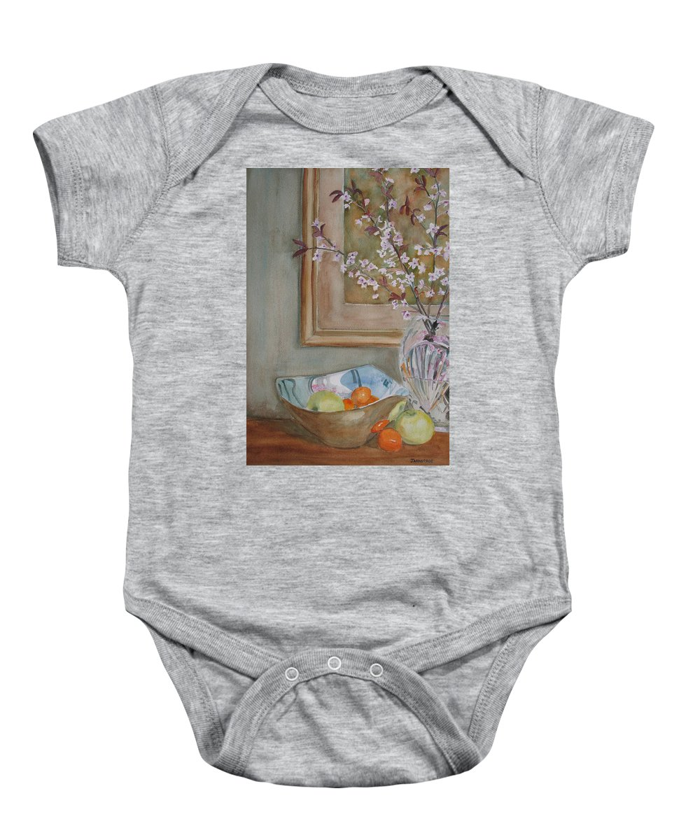 Apples Baby Onesie featuring the painting Apples And Oranges by Jenny Armitage