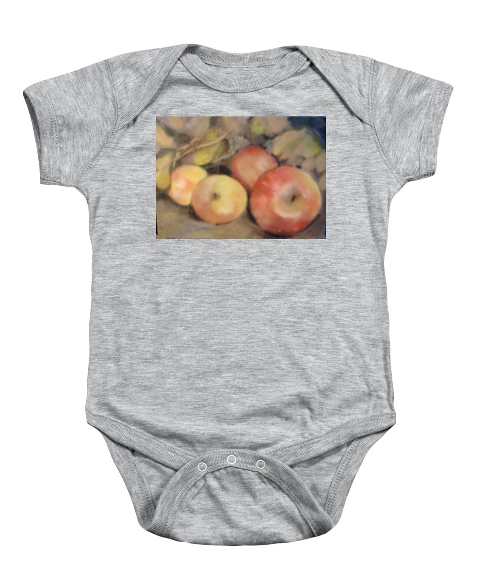 Fruit Baby Onesie featuring the painting Apples by Pat Snook