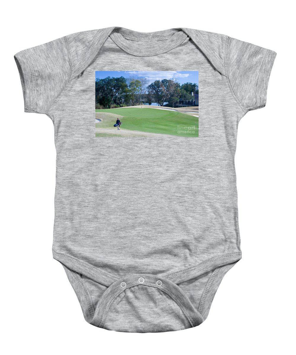 Golf Baby Onesie featuring the photograph Approaching The 18th Green by Thomas Marchessault