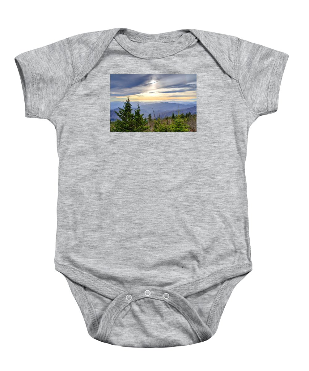 Autumn. Clingmans Dome Baby Onesie featuring the photograph Apricot Afternoon at Clingmans Dome by Kristina Plaas