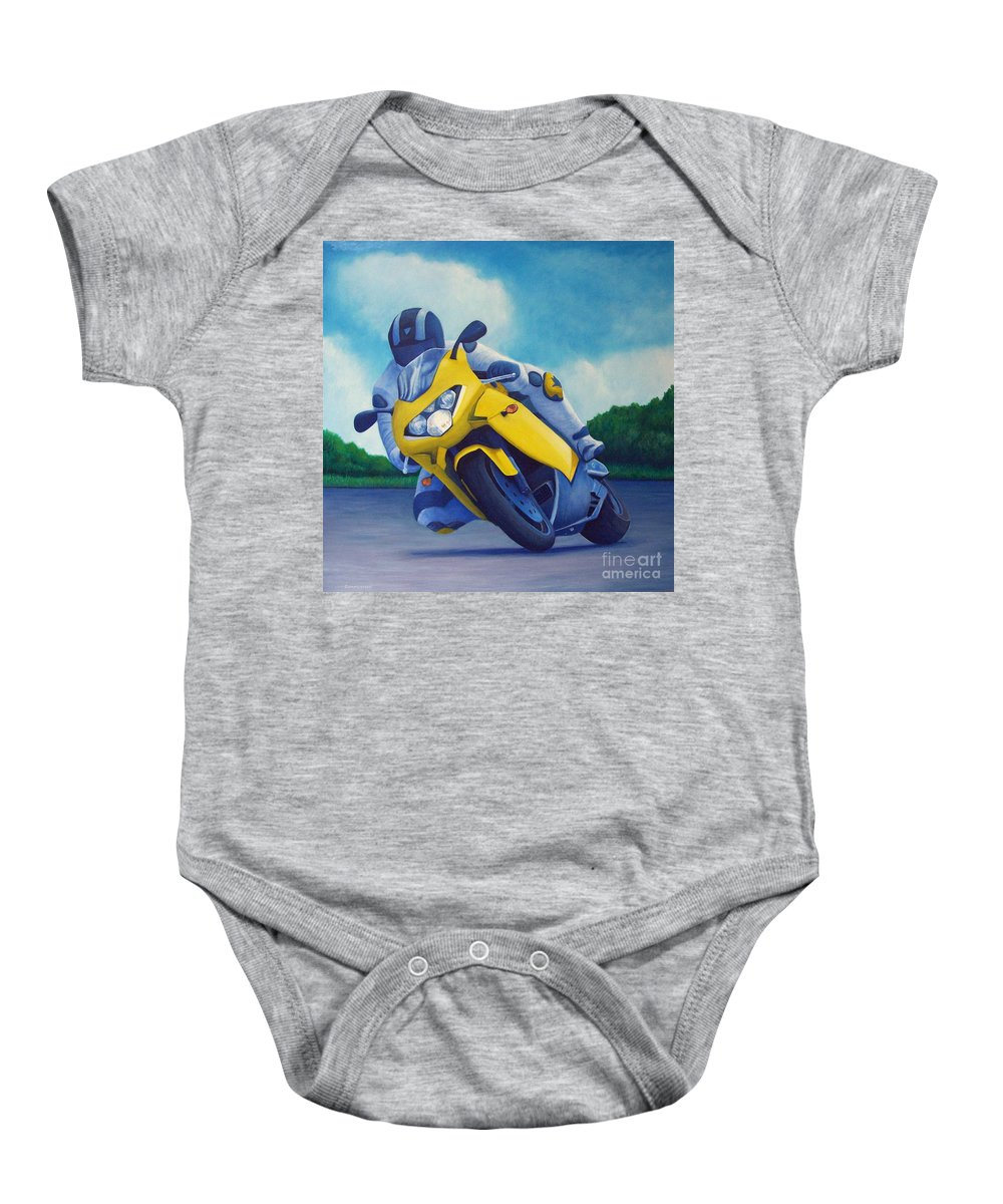 Motorcycle Baby Onesie featuring the painting Aprilla - Tuesday Afternoon by Brian Commerford