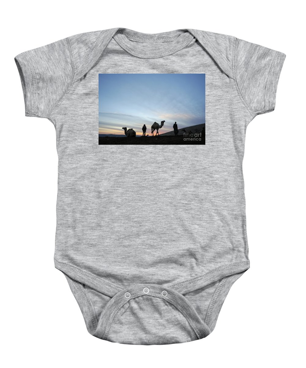 Middle East Baby Onesie featuring the photograph Arabian Camel At Sunset by PhotoStock-Israel