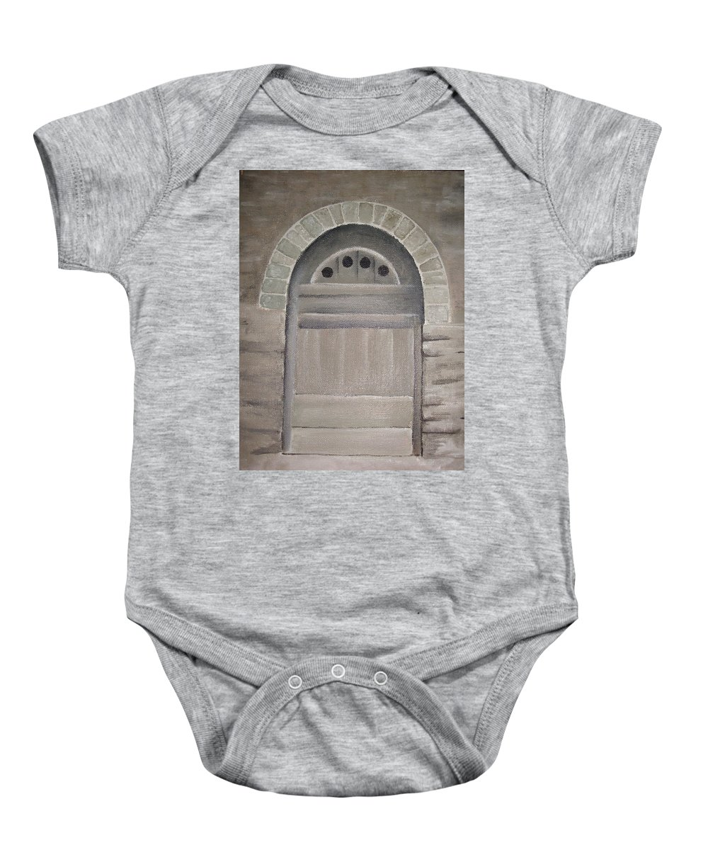 Ancient Baby Onesie featuring the painting Arched Doorway By Kim Chernecky by Kim Chernecky