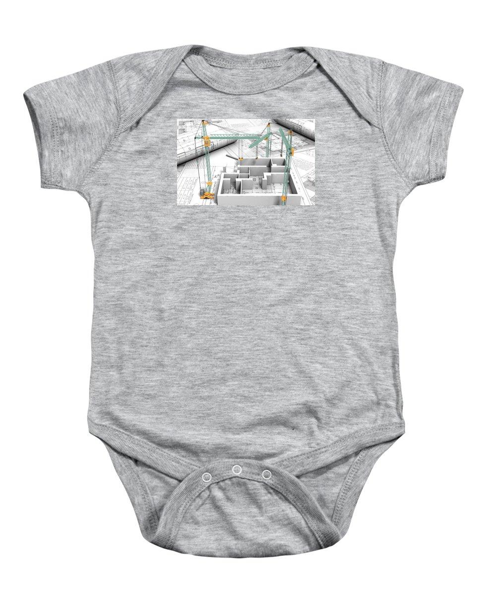 Architectural Drafting Services Baby Onesie featuring the photograph Architectural Drafting Services by Daksh Adhyaru