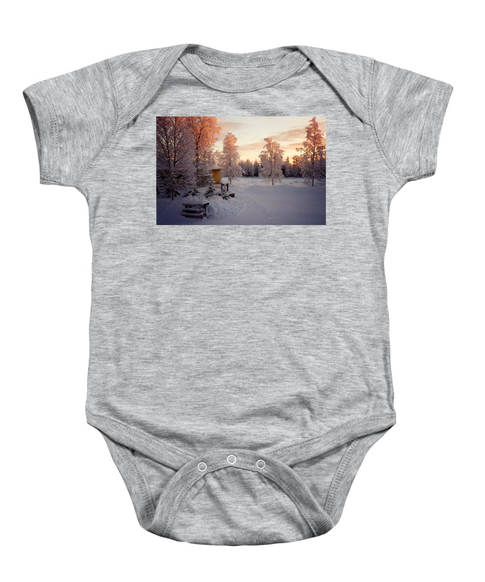 Arctic Baby Onesie featuring the photograph Arctic Homestead by Merja Waters