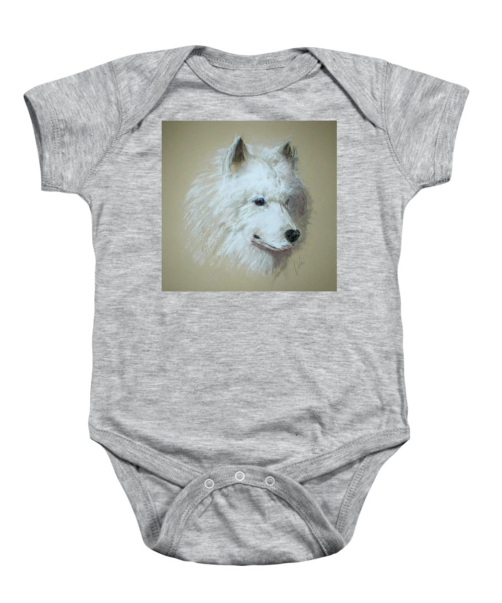 Dog Baby Onesie featuring the drawing Arctic Serenity by Cori Solomon