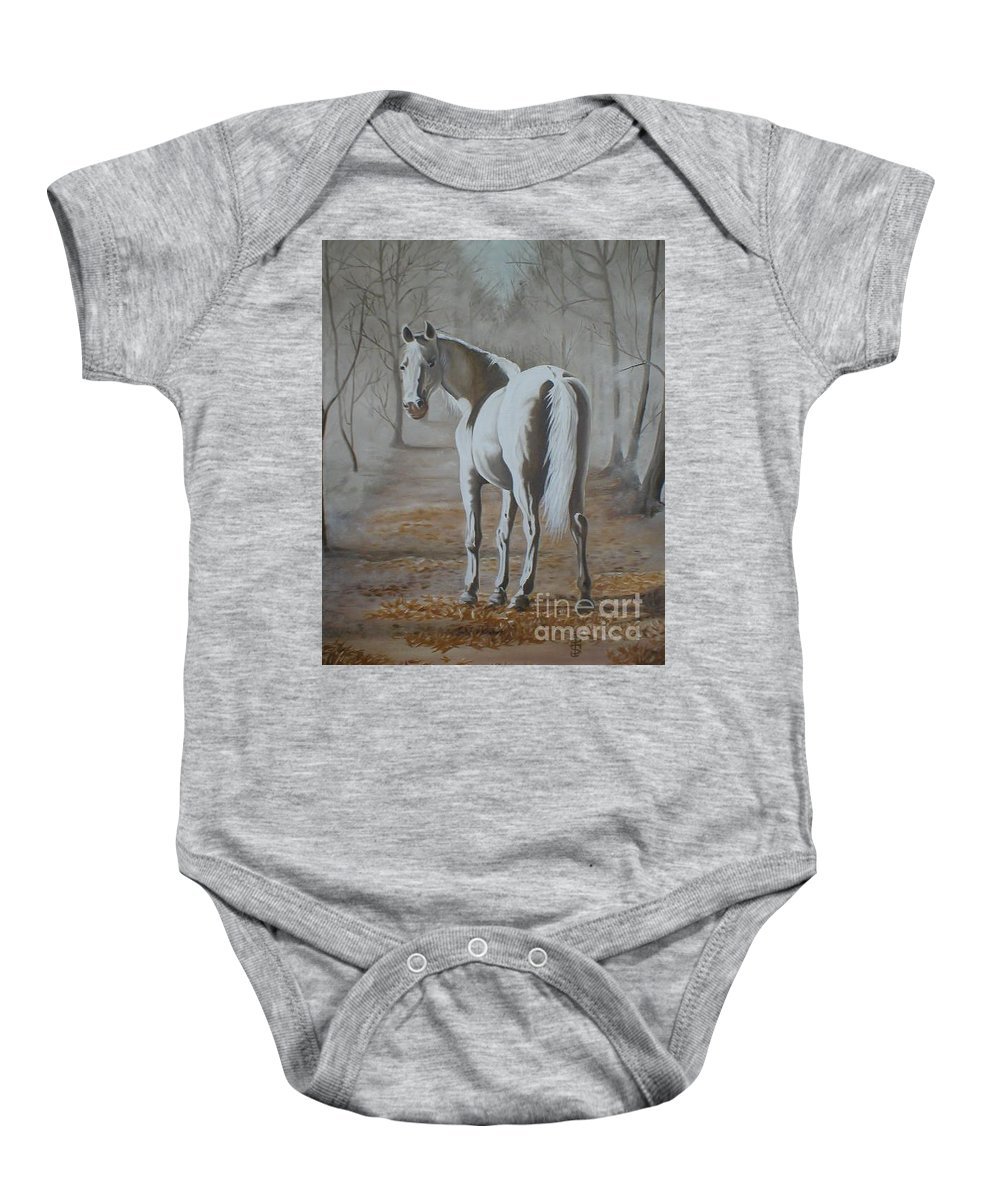 White Horse Looking Autumn Leaves Trees Avenue Shadows Baby Onesie featuring the painting Are You Coming by Pauline Sharp