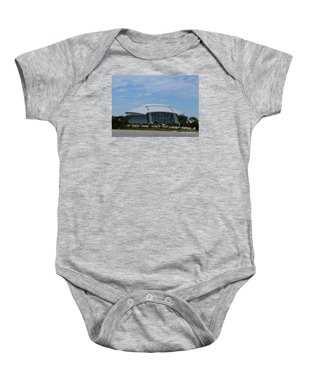 Arlington At&t Stadium Prints Baby Onesie featuring the photograph Arlington Atand T Stadium by Ruth Housley